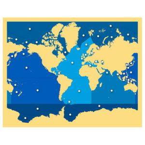 mapa Puzzle Mares y Océanos