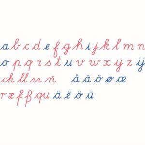 Alfabeto Móvil de Madera: Letra Internacional Cursiva